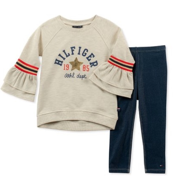 Tommy Hilfiger Other - Tommy Hilfiger Ruffle-Bell Sleeve Top & Leggings